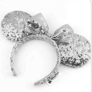 NWT-Minnie Mouse Silver Sequin Ears W/ Sequin Bow